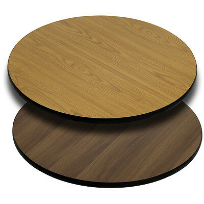 Flash Furniture 42 Round Table Top w/Natural or Walnut Reversible Laminate Top