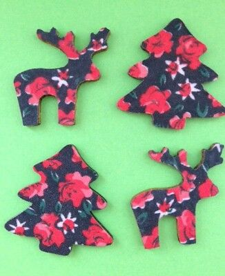 8 Floral Wooden Christmas Tree Reindeer Card Making Embellishments Clearance