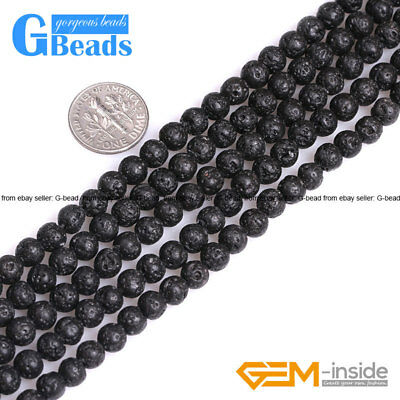Natural Black Volcanic Lava Sponge Round Beads For Jewelry Making Free Shipping