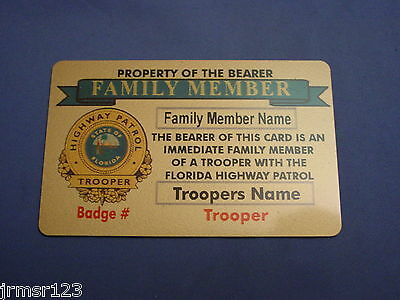 Florida Highway Patrol  Family Member Card In Brass  -Fop-Pba State Police