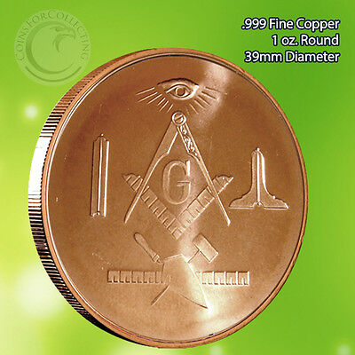 "Masonic Freemason ""Limited"" 1 oz .999 Copper Round"
