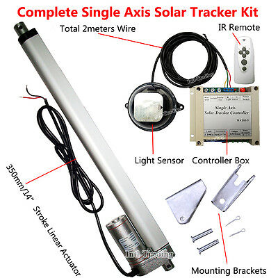 "Solar Tracking Single Axis System Kit &14"" Linear Actuator&Electronic Controller"