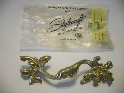 Vintage NOS Brass Solid Dresser Drawer Pull French Provincial Victorian Leafy