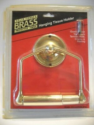 Vintage NOS Gatco BRASS Hanging Toilet Tissue Paper Holder Bathroom Wall Mount
