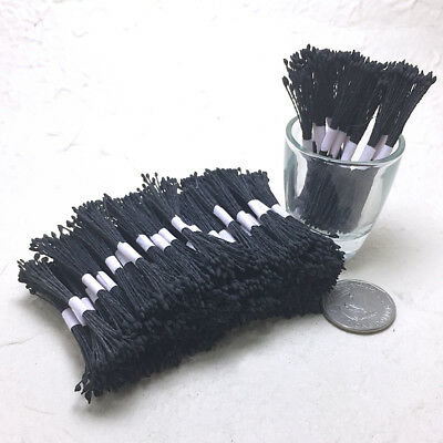250 Tiny Black Double Sided Round Flower Stamens Craft Artificial Cards floral