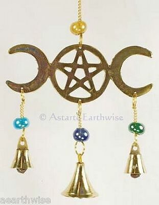 3 BELL TRIPLE MOON PENTACLE WITH GLASS BEADS WINDCHIME - Wicca Pagan Witch Goth