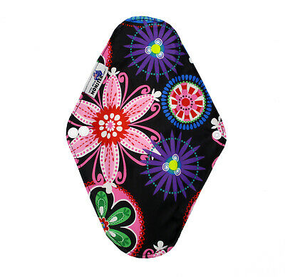 Cloth Menstrual Pads Bamboo Charcol Reusable Sanitary Liner Bright Flowers HEAVY