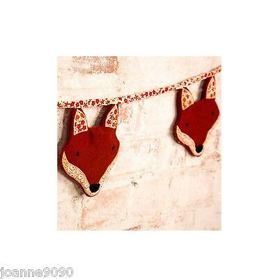 Sass & Belle Handmade  Paddy The Fox Fabric Bunting Decoration Retro Home Gift