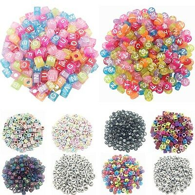 100pcs 6mm Acrylic Digital Letter Square Cube DIY Jewelry Spacer Loose Beads