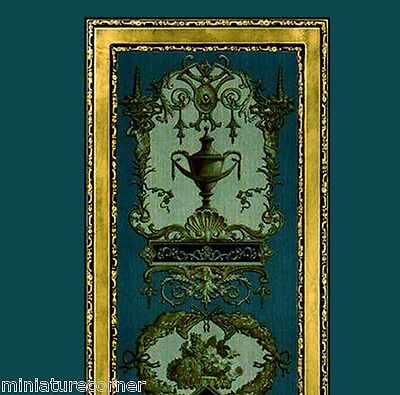 Dolls House Wallpaper 1/12th 1/24th scale Teal Quality Paper #310