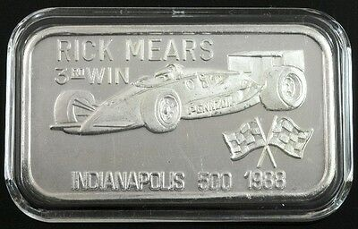 Rick Mears 3rd win Indianapolis 500 in1988 1oz silver art bar only 200 made