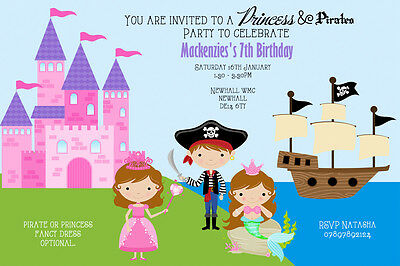 Personalised Princess and Pirate Birthday Party Invites inc envelopes (5)
