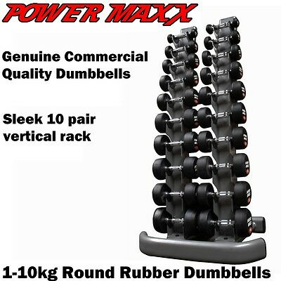 POWER MAXX 1-10kg Round Rubber Dumbbell Set Weights Home Gym