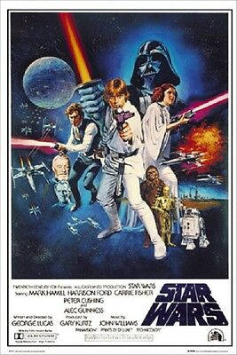 """Star Wars Poster A New Hope """"movie Cover"""" Licensed """"brand New"""" Vader,anakin,yoda"""