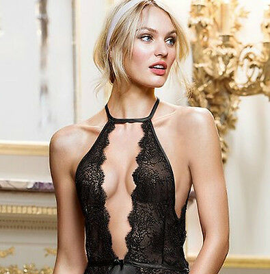 Sexy Slit Nightdress Black or Pink with Bonus G-String Lingerie Lace Nightgown
