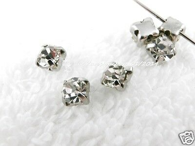 Glass Beads To Sew silver coloured set Strass stone ca. 4,5mm Crystal