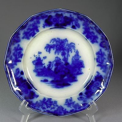 "Antique Alcock Jr Flow Blue Scinde Dinner 9.12"" 12 Sided Plate 2"