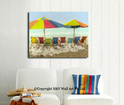 Summer Beach Stretched Canvas Print Framed Hanging Wall Art Home Decor Painting