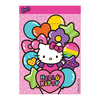 8 Hello Kitty Rainbow Birthday Party Loot Gift Treat Plastic favor Bags