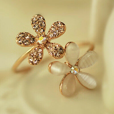 New Fashion Jewelry Gold Filled Daisy Crystal Rhinestone Ring Gift Adjustable