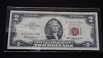 1963  Two Dollar Red Seal Note   A10291478A   E-12-15 (See Pictures)