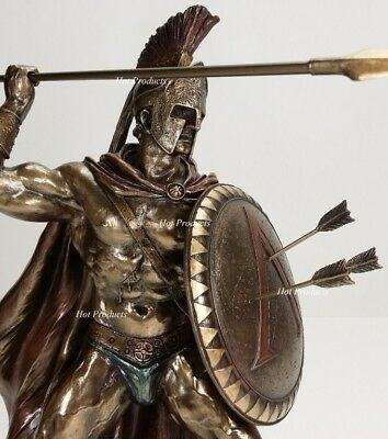 "12.5"" LEONIDAS Greek Warrior SPARTAN KING Statue Sculpture SPEAR Arrow In SHIELD"