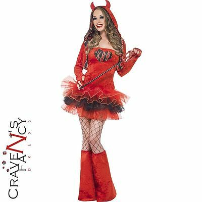Ladies Fever Devil Tutu Costume Sexy Halloween Womens Fancy Dress Red Outfit New