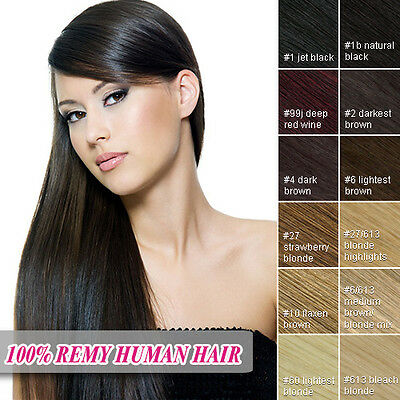 Full Head Hair Extensions Clip In 100% Remy Human Hair Extensions 8pcs 16-26""