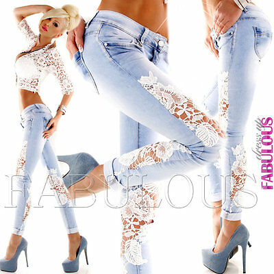 New Women's Slim Fit Skinny Leg Jeans Size 10 12 14 6 8 XS S M L XL Blue White