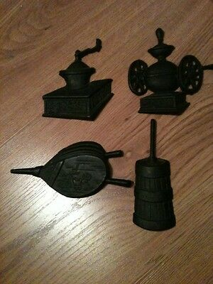 Cast Iron 4 Wall Hangings Bellows, Flour And Coffee Grinders, Butter Churn