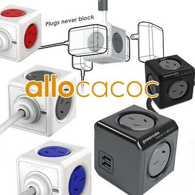 Power Cube Allocator Desktop Charge 4 Sockets 2 USB Ports or 5 Sockets 4 Colours