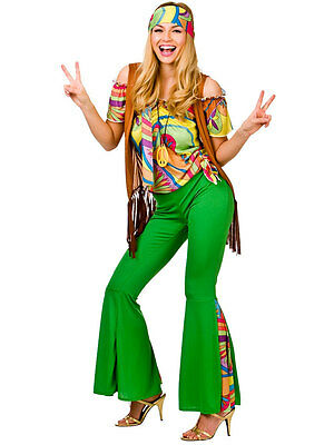 Ladies 60s 70s Hippy Costume Adults Hippie Psychedelic Groovy Fancy Dress Outfit