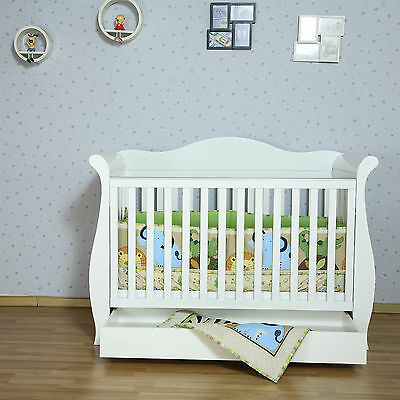 NEW White New Zealand Pine 3-in-1 Baby Sleigh Cot Bed with Drawers free mattress
