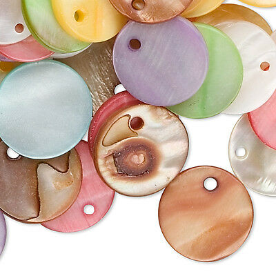 50 Assorted Color 15mm Flat Round Mother Of Pearl Shell Coin Drop Charm Beads
