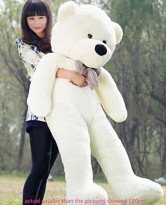 Hot GIANT CUTE WHITE PLUSH TEDDY BEAR HUGE SOFT 100% COTTON TOY 31""