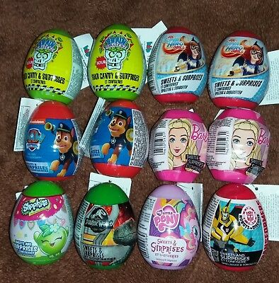 6x Plastic Surprise Eggs - Minions, Cars, Pets, Finding Dory,Spiderman, Marvel