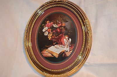 Home Interior/Homco Picture of Flowers/Bible/Angel signed by Fran Di Giacomo