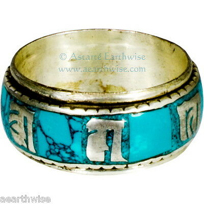 TURQUOISE METAL SPINNING RING SIZE 7 Wicca Witch Pagan Yoga PRAYER WHEEL MANTRA