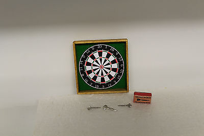 DOLLS HOUSE ( Handcrafted  Dart Board & 3 Boxed Pewter Darts