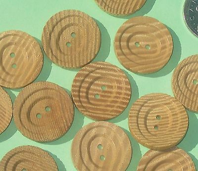 Fancy WOODEN Wood Set 12 New Old Stock Buttons DROP TIER 15/16""