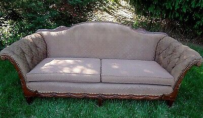 ANTIQUE SOFA/COUCH~FRENCH~CARVED WOOD~BRASS NAIL HEAD TRIM~ROLLED TUFTED ARMS