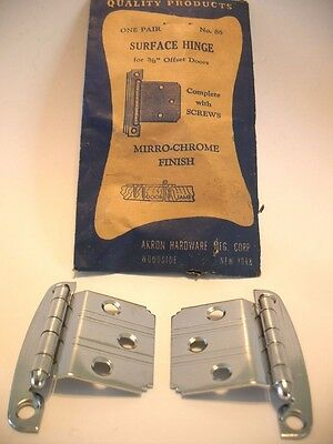 "Vintage NOS CHROME Cabinet Door HINGES w Line Pattern 3/8"" Offset Akron Art Deco"