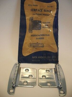 Vintage NOS CHROME Cabinet Door HINGES w Line Pattern Flush Doors Akron Art Deco