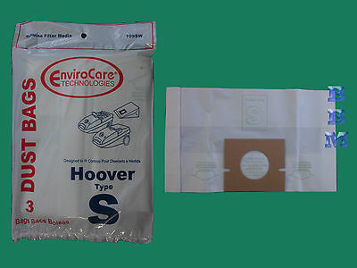3 Hoover Type S Canister Vacuum Bags Power Turbo Max Spectrum Windtunnel Vac