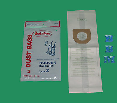 3 Hoover Type Z Vacuum Cleaner Bags 4010075Z Breathe Easy Caddy Vac Futura Turbo