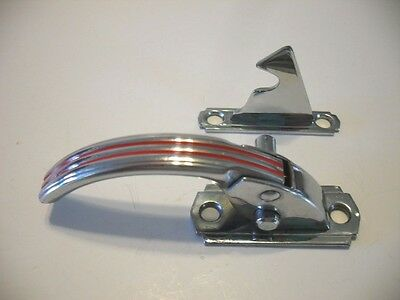 "Vintage NOS CHROME Hoosier Cabinet Door Latch w RED Lines RIGHT Hand 3/8"" Offset"