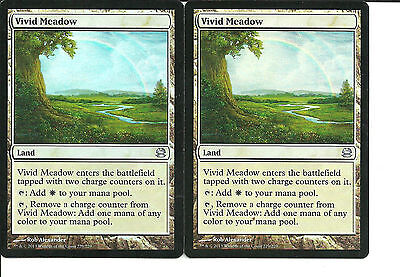 mtg Magic 2x Vivid Meadow ( Pradera vivida )    Modern Masters FOIL  NM-