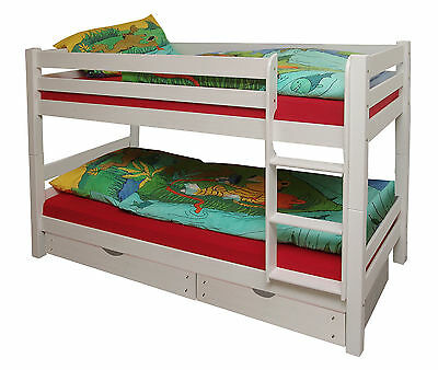 Bunk bed Kid's bed bunk bed Wolf pine painted white 190 x 90 cm New