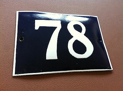 ANTIQUE VINTAGE FRENCH ENAMEL SIGN HOUSE NUMBER 78 DOOR GATE SIGN BLUE 1950's
