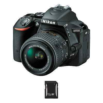 Nikon D5500 DSLR Camera w/18-55mm Lens & 64GB SDHC Card